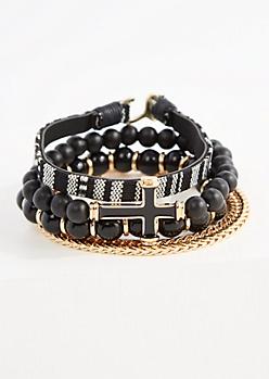 Golden Cross Bracelet Set