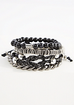 Metallic Beaded & Braided Bracelet Set