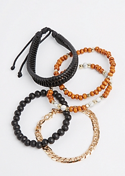 Leather Cord & Chain Bracelet Set