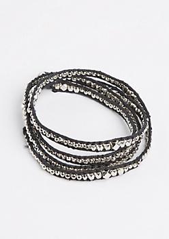 Silver Metal Stone Wrap Bracelet
