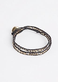 Gold Figaro Chain Wrap Bracelet