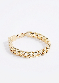 Metallic Gold Cuban Chain Bracelet