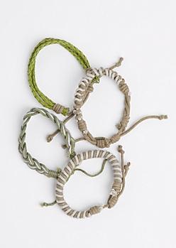 Olive Woven & Braided Bracelet Set