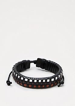 Brown & White Woven Bracelet