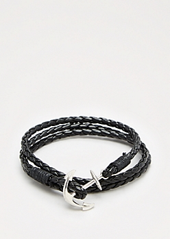 Black Anchor Wrap Bracelet