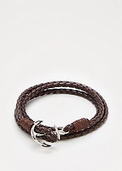 Brown Anchor Wrap Bracelet