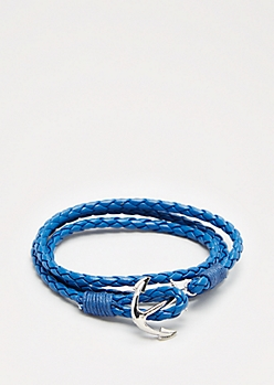 Blue Anchor Wrap Bracelet