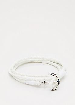 White Anchor Wrap Bracelet