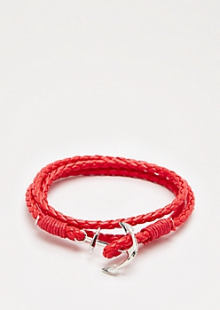 Red Anchor Wrap Bracelet