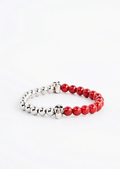 Red Skull Tonal Beaded Bracelet