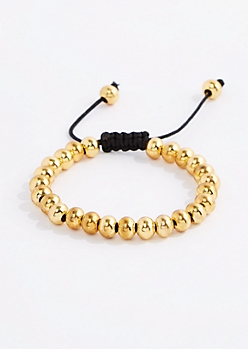 Gold Tone Metallic Bead Bracelet