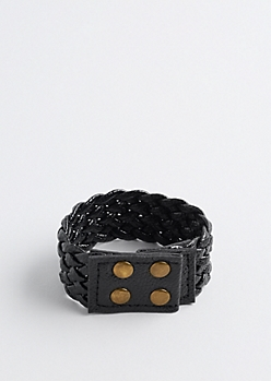 Braided Faux Leather Bracelet