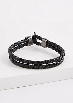 Toggle Square Braided Faux Leather Bracelet