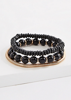 3-Pack Black Bead & Chain Bracelet Set