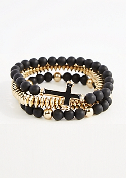 3-Pack Golden Beaded Cross Bracelet