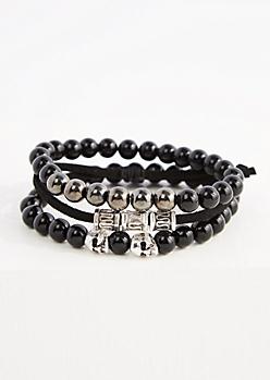 3-Pack Black Skull Bead Bracelets