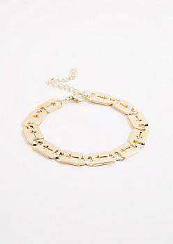 Cross Plate Link Bracelet