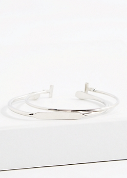 T Bar Silver Tone Open Bangle Set