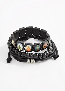 Saints Wood Bead Bracelet Set