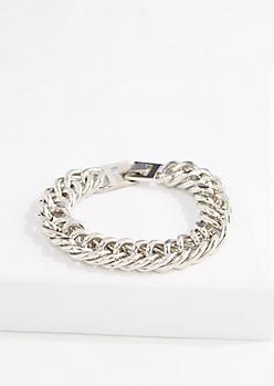 Metallic Silver Chunky Chain Bracelet