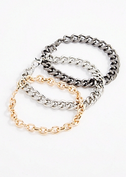 3-Pack Tri-Tone Wheat Chain Bracelets