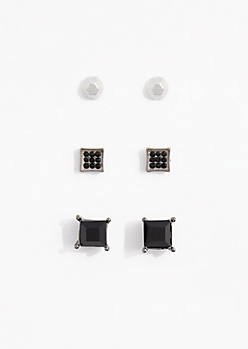 Dark Stone Earring Set