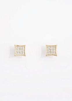 Clear Pave Diamond Stud Earrings