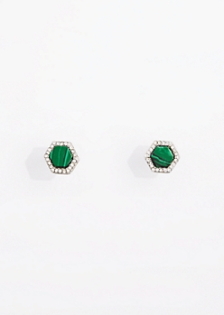 Green Stone Halo Hexagon Stud Earrings