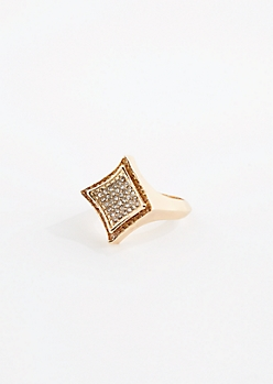 Metallic Gold Pave Stone Ring