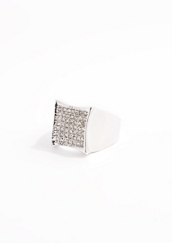 Metallic Silver Pave Stone Ring