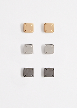 3-Pack Tonal Square Metal Stud Earrings