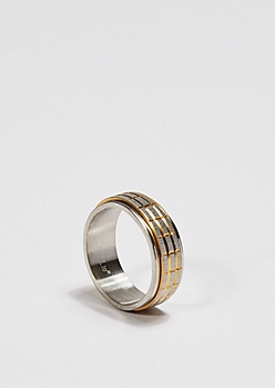 Gold Accent Grid Spinner Ring