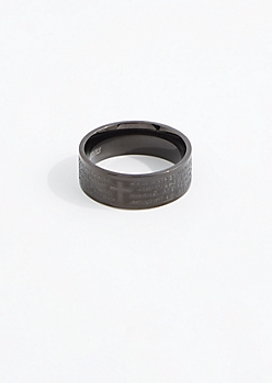 Lords Prayer Black Ring