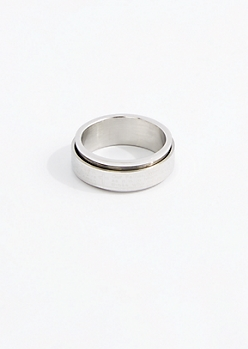 Silver Tone Inscription Spinner Ring