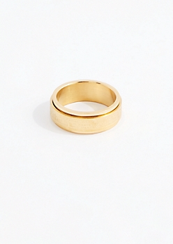 Gold Tone Inscription Spinner Ring