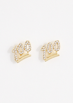 Pave 100 Emoji Stud Earrings
