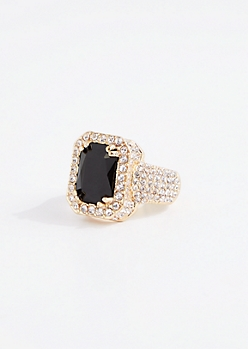 Black Gem Pave Bling Ring