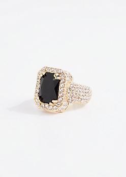 Black Gem Pave Bling Ring
