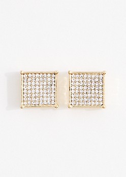 Large Pave Cube Stud Earrings