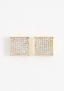 Large Pave Cube Stud Earrings