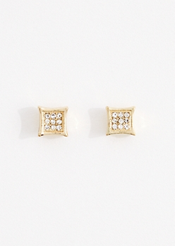 Small Pave Cube Stud Earrings