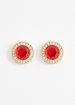Ruby Red Gem Halo Stud Earrings