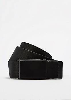 Solid Black Webbed Belt