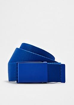 Solid Blue Webbed Belt