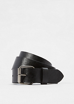 Textured Black Faux Leather Belt