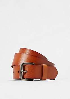 Textured Tan Faux Leather Belt