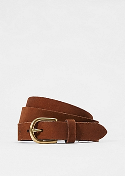 Slim Brown Leather Belt