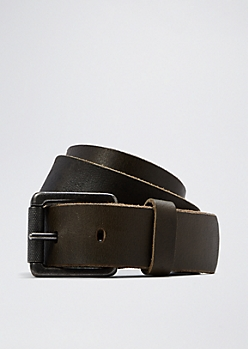 Distressed Black Leather Belt