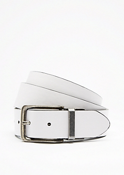 White & Black Reversible Belt