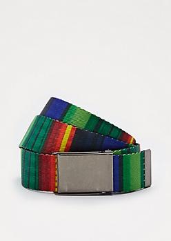 Tonal Striped Reversible Webbed Belt